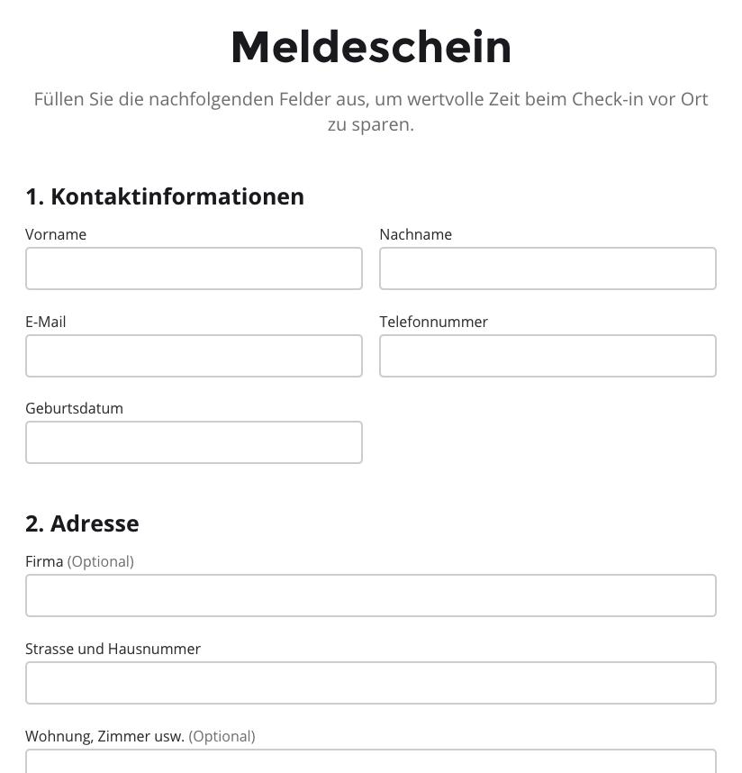 Der neue, digitale Meldeschein.